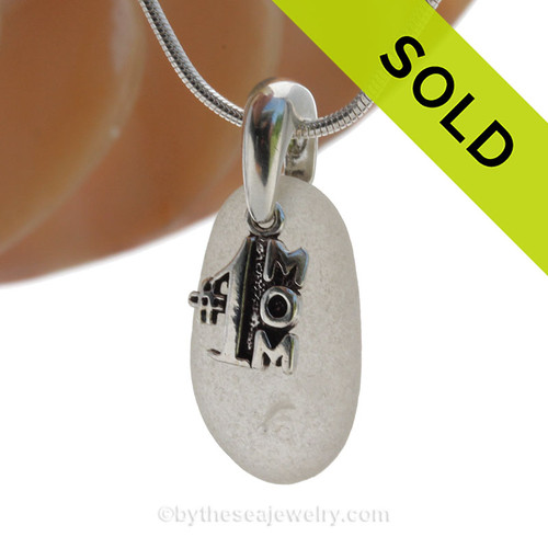 """PERFECT Pure White Sea Glass Necklace with Sterling Silver #1 MOM Charm - 18"""" Solid Sterling Chain INCLUDED"""