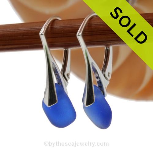 Nice petite Genuine Cobalt Blue  Beach Found Sea Glass Earrings on Sterling Leverback Earrings.