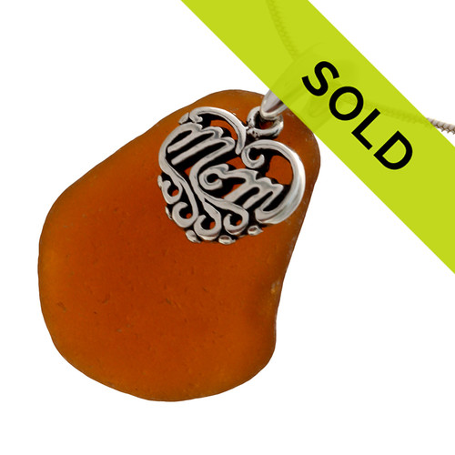 Sorry this brown sea glass necklace with mom charm has sold!