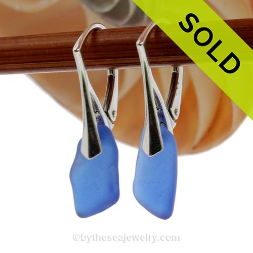 Nice longer Genuine Cobalt Blue  Beach Found Sea Glass Earrings on Sterling Leverback Earrings.