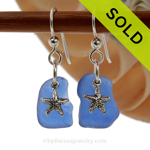 A pair of Natural Surf Tumbled rich Cobalt Blue Sea Glass Earrings with Solid Sterling Starfish Charms. Simple and elegant with genuine sea glass pieces. This pair comes on a top quality professional grade French Ear Wires (shown). SOLD - Sorry these Rare Sea Glass Earrings are NO LONGER AVAILABLE!