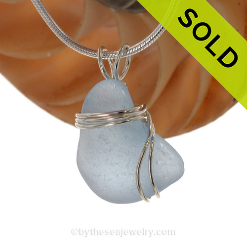 A stunning Genuine Electric Aqua Sea Glass Pendant set in our Signature Triple setting in Sterling Silver. SOLD - Sorry This Sea Glass Pendant is NO LONGER AVAILABLE!