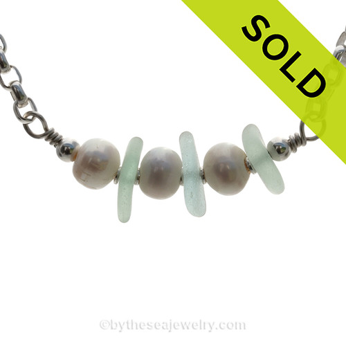 Lovely Seafoam Green sea glass from and LARGE Fresh Water Pearls on a 4.6 MM Rolo Solid Sterling Chain. SOLD - Sorry this Sea Glass Necklace is NO LONGER AVAILABLE!