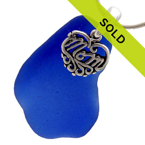 For Mom - HUGE Cobalt Sea Glass & Sterling MOM Heart Charm