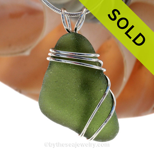Perfect Peridot Green Sea Glass Pendant In Sterling Triple Necklace Pendant Setting