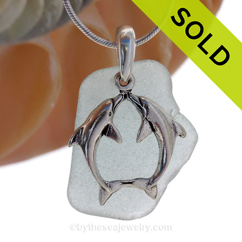 """LARGER Pale Aqua sea glass set on a Solid Sterling Cast bail with a Sterling Silver Kissing Dolphins Charm -  18"""" Quality Chain INCLUDED! SOLD - Sorry this Sea Glass Necklace is NO LONGER AVAILABLE!"""