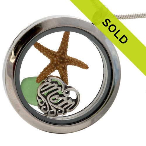 For Mom - Green Sea Glass and Real Starfish With Mom Charm