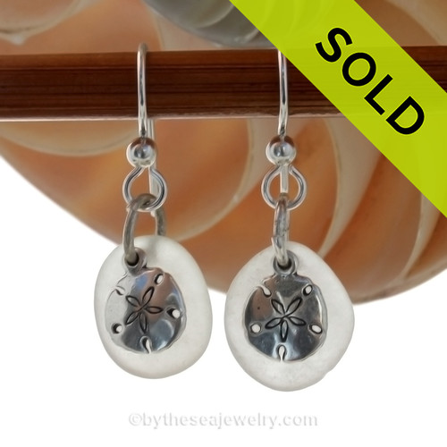 Genuine Beach Found pure White Sea Glass Earrings in sterling with Sterling Silver Sandollar charms. SOLD - Sorry these Sea Glass Earrings are NO LONGER AVAILABLE!