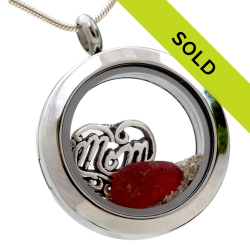 For Mom - Red Sea Glass and Real Sand With Mom Charm