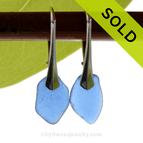 Small and Lightweight Genuine Cobalt Blue  Beach Found Sea Glass Earrings on Sterling Leverback Earrings.