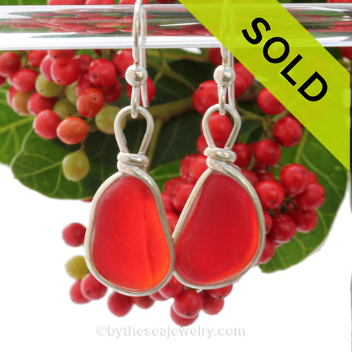 SUPER ULTRA RARE LARGE and P-E-R-F-E-C-T and Vivid Red Genuine Sea Glass Earrings In Sterling Silver Wire Bezel©