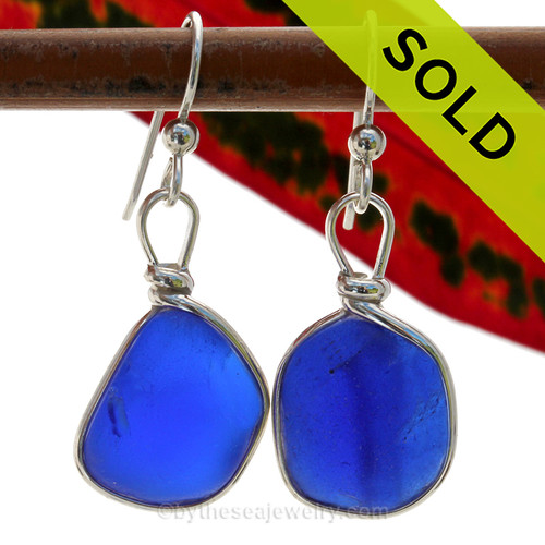 Genuine Deep Chunky Blue Sea Glass Earrings in our Original Wire Bezel© Sterling Silver setting. SOLD - Sorry these Rare Sea Glass Earrings are NO LONGER AVAILABLE!