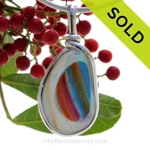 SUPER DUPER Ultra Rare white endoday sea glass from England with every color fused inside and set in our Original Wire Bezel© necklace pendant setting. OLD - Sorry this Ultra Rare Sea Glass Pendant is NO LONGER AVAILABLE!