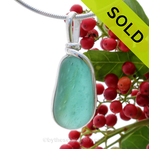 A Lovely Petite Mixed Aqua Seaham multi sea glass set in Solid Sterling Silver Deluxe Wire Bezel© pendant setting. SOLD - Sorry this Rare Sea Glass Pendant is NO LONGER AVAILABLE!