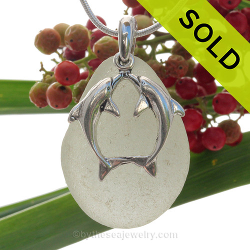 """Beautiful Kissing Dolphins Sterling Silver Necklace with Pale Green Sea Glass - 18"""" STERLING CHAIN INCLUDED. SOLD - Sorry this Sea Glass Necklace is NO LONGER AVAILABLE!"""