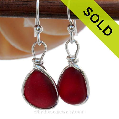 P-E-R-F-E-C-T RARE Deep Thick Cherry Red Genuine Sea Glass Earrings In Sterling Silver Wire Bezel©