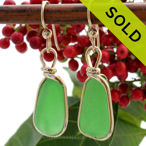 Natural Genuine UNALTERED sea glass pieces in avivid green expertly wrapped in 14K Rolled Gold for a lovely classic pair or earrings! SOLD - Sorry these Sea Glass Earrings are NO LONGER AVAILABLE!