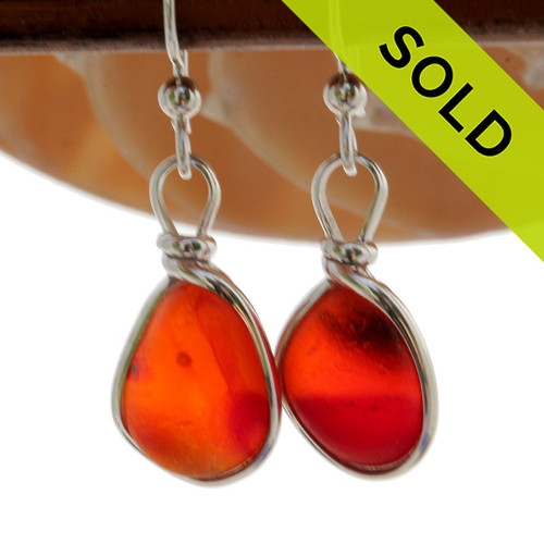 Highly ULTRA RARE Multi Orange Red Genuine Sea Glass in our Original Wire Bezel© earring setting lets all the color of these beautiful gold set beach found sea glass pieces shine!