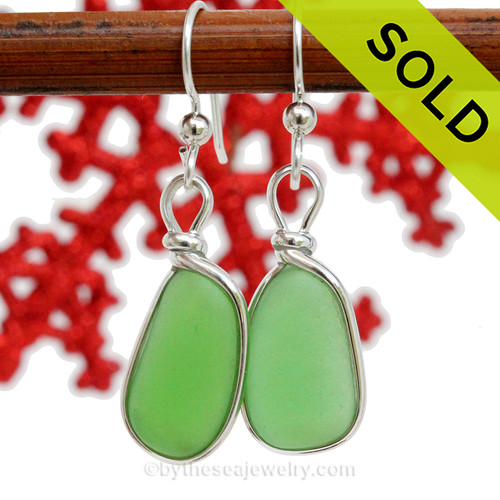 Genuine Naturally Shaped Green Sea Glass Earrings in our Original Wire Bezel© Setting.