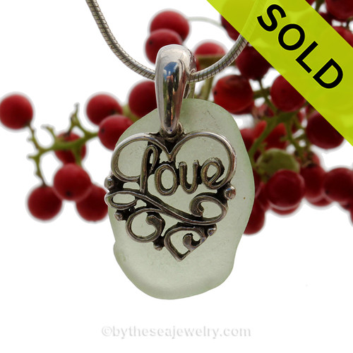 """Pale Citron Green Sea Green Sea Glass Necklace With Sterling Heart LOVE Charm - 18"""" Solid Sterling Chain INCLUDED"""
