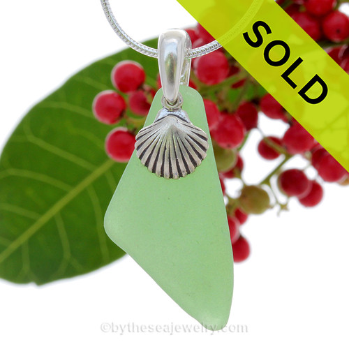 """Thinner Green Genuine Sea Glass Necklace with Sterling Silver Shell Charm - 18"""" Solid Sterling Chain INCLUDED"""