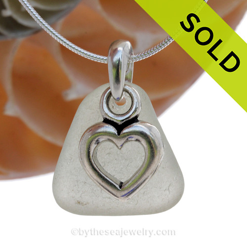 """Palest Green Sea Glass With Sterling Silver Pal Tree Charm - 18"""" STERLING CHAIN INCLUDED. SOLD - Sorry this Sea Glass Necklace is NO LONGER AVAILABLE!"""