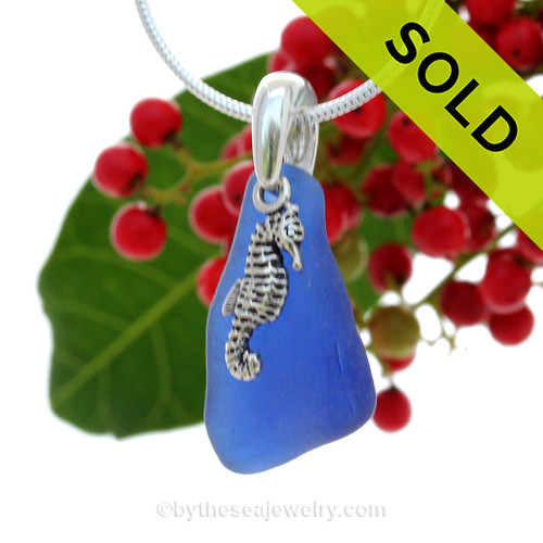 """Lovely Curvy Cobalt Blue Sea Glass With Sterling Silver Seahorse Charm - 18"""" STERLING CHAIN INCLUDED SOLD - Sorry this Sea Glass Necklace is NO LONGER AVAILABLE!"""