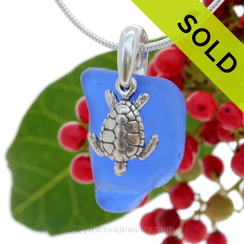 """Curvy Cobalt Blue Sea Glass With Sterling Silver Sea Turtle Charm - 18"""" STERLING CHAIN INCLUDED"""