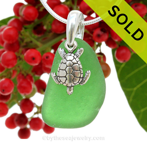 Larger Saturated Vivid Green Genuine Sea Glass Necklace with Beach found sea glass and solid sterling Turtle and Solid Sterling Silver Snake chain.