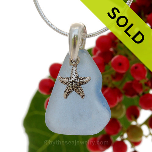 """Lovely Nice piece of Carolina Blue Sea Glass With Sterling Silver Sea Star Charm - 18"""" STERLING CHAIN INCLUDED. SOLD - Sorry this Sea Glass Necklace is NO LONGER AVAILABLE!"""