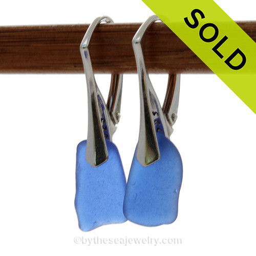 Vivid and Lightweight Squarish Genuine Cobalt Blue  Beach Found Sea Glass Earrings on Sterling Leverback Earrings. SOLD - Sorry these Rare Sea Glass Earrings are NO LONGER AVAILABLE!