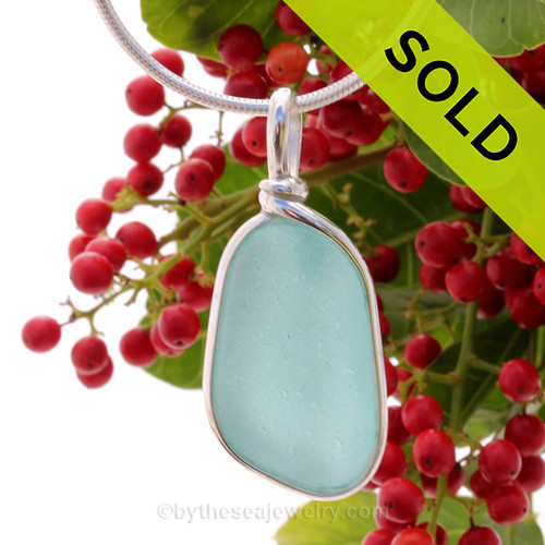 Vivid Bright Aqua Blue Genuine Sea Glass Pendant in our Original Wire Bezel© in Sterling Silver. SOLD - Sorry this Rare Sea Glass Pendant is NO LONGER AVAILABLE!