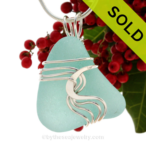 A stunning and LARGE PERFECT Genuine Electric Aqua Sea Glass Pendant set in our Signature Waves© setting in Sterling Silver. SOLD - Sorry this Rare Sea Glass Pendant is NO LONGER AVAILABLE!