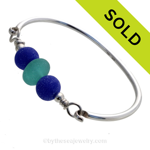 Premium Vivid Aqua Genuine Sea Glass Sterling Bangle Bracelet With Blue Recycled Glass Beads
