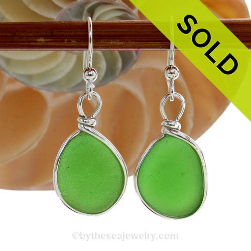 Round Vivid Green Genuine Sea Glass Earrings In Sterling Silver Original Wire Bezel©