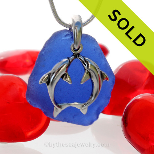 """Beautiful Kissing Dolphins Sterling Silver Necklace with Vivid Cobalt Blue Sea Glass - 18"""" STERLING CHAIN INCLUDED. SOLD - Sorry this Sea Glass Necklace is NO LONGER AVAILABLE!"""