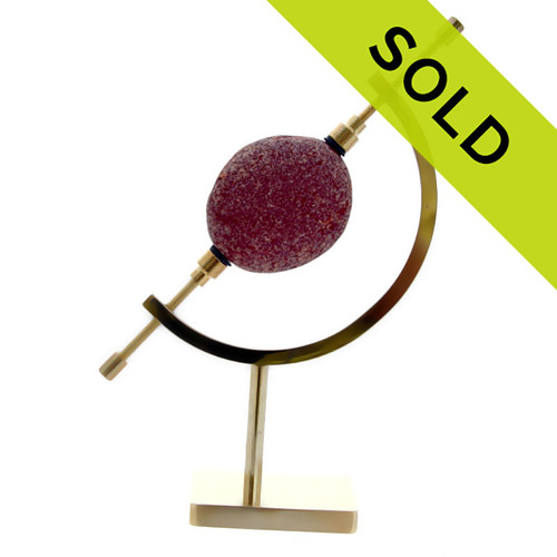 Sorry this huge red sea glass piece on brass stand has been sold!