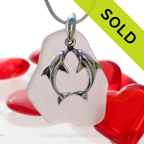 """Beautiful Kissing Dolphins Sterling Silver Necklace with Long and pale Lavender Sea Glass - 18"""" STERLING CHAIN INCLUDED.  SOLD - Sorry this  Rare Sea Glass Necklace is NO LONGER AVAILABLE!"""