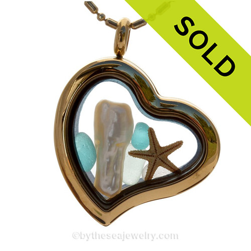 South Seas Love - Tropical Aqua Beach Found Sea Glass Heart Goldtone Locket Necklace W/ Starfish & Stick Pearl