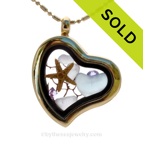 Baby Blue Heart and Pale Lavender Beach Found Sea Glass Heart Goldtone Locket Necklace W/ a Real baby Starfish and Amethyst Crystal Gems. SOLD - Sorry this Sea Glass Locket is NO LONGER AVAILABLE!