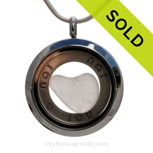 I ♥ U - White Green Sea Glass Natural Heart and Sterling Circle Locket Necklace