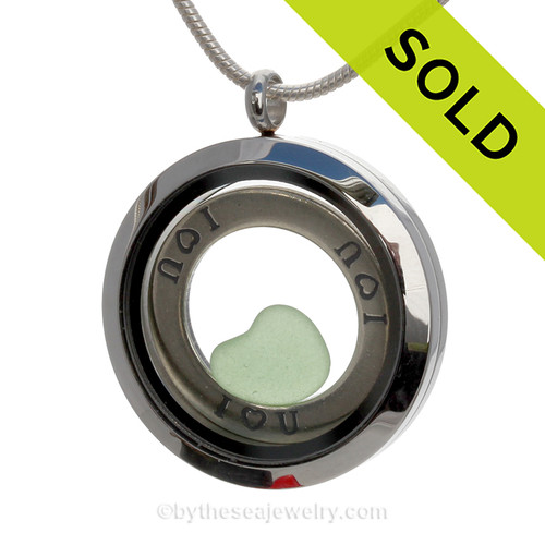 Genuine rare perfect green heart shaped sea glass combined and a Solid Sterling i ♥ U circle charm, in this stainless steel locket. SOLD - Sorry This Sea Glass Locket is NO LONGER AVAILABLE!