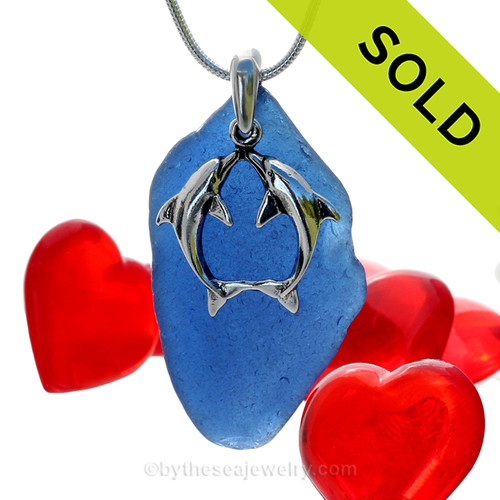 "SOLD - Sorry this Sea Glass Necklace is NO LONGER AVAILABLE! Beautiful Kissing Dolphins Sterling Silver Necklace with Long and Large Vivid Cobalt Blue Sea Glass - 18"" STERLING CHAIN INCLUDED."