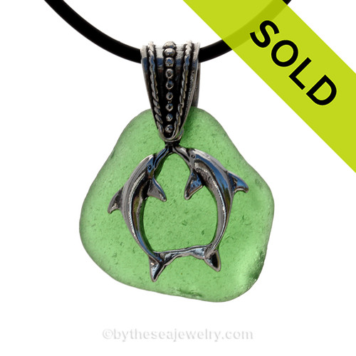 """Kissing Dolphins Sterling Silver Necklace with Green Sea Glass - 18"""" Neoprene Cord INCLUDED"""