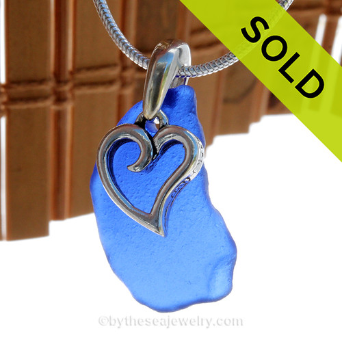 """Blue Sea Glass Necklace With Sterling Heart Charm - 18"""" 1.2MM Solid Sterling Chain INCLUDED. SOLD - Sorry this Sea Glass Necklace is NO LONGER AVAILABLE!"""