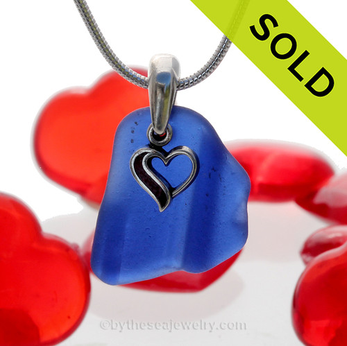 Neat Ridged Blue Sea Glass Necklace With Sterling Heart Charm. SOLD - Sorry this Rare Sea Glass Necklace is NO LONGER AVAILABLE!