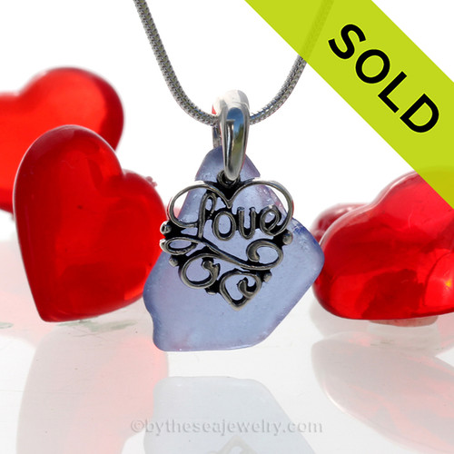 Nice piece of Cornflower Blue Sea Glass Necklace With Sterling Heart LOVE Charm on a SOLID Sterling Chain SOLD - Sorry this Sea Glass Necklace is NO LONGER AVAILABLE!