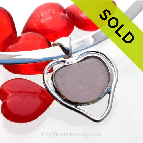 February Love - SUPER RARE Perfect Puffy Purple Genuine Sea Glass Heart In Deluxe Sterling Double Bezel© Necklace Pendant