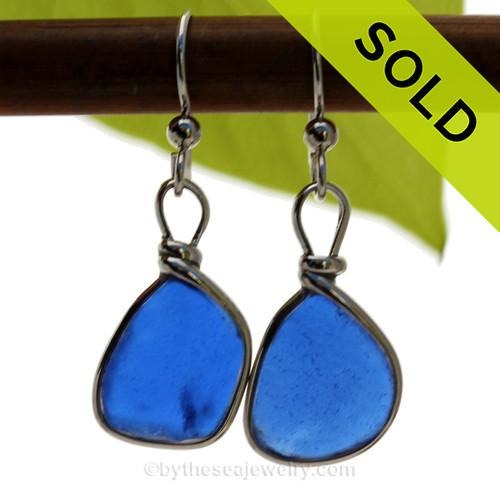 Lightweight Bright Cobalt Blue Genuine Sea Glass Earrings Solid Sterling Silver Original Wire Bezel©