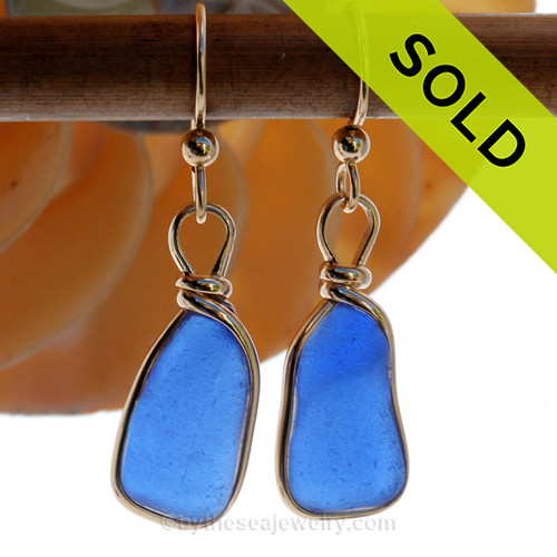 Lightweight Bright Cobalt Blue Genuine Sea Glass Earrings 14K Rolled Gold Original Wire Bezel©